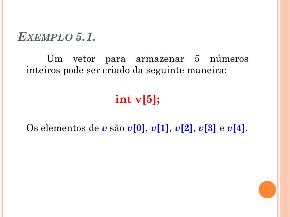 Exemplo 5.1. Um vetor para armazenar 5 números inteiros pode ser criado da seguinte maneira: int v[5];